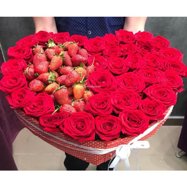 Букет роз, букет в виде сердца ростов на дону